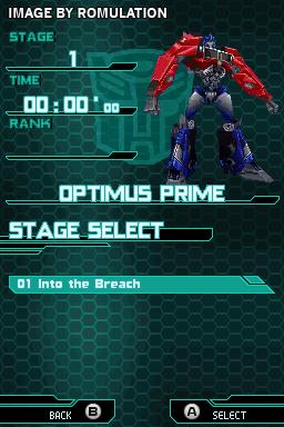 Transformers - Prime - The Game for NDS screenshot